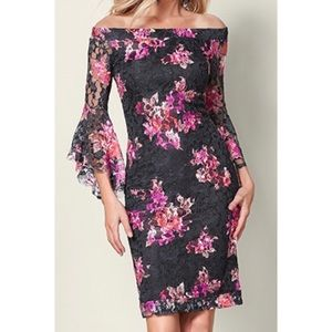 NEW Lace Off The Shoulder Bell Sleeve Floral Dress
